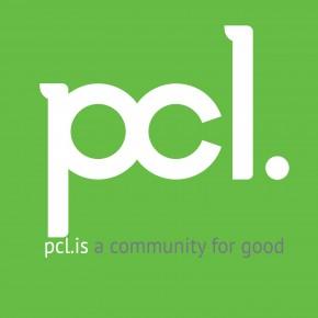 PCL square logo white w tagline on green